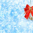 Abstract snowy background with snowflakes, stars and red bow — Stock Photo #16185505