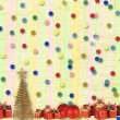 Stock Photo: Gifts and balls under the Christmas tree on the abstract backgro