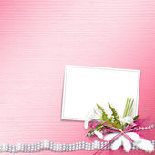 Invitation card for the wedding, with white calla lilies and pea — 图库照片
