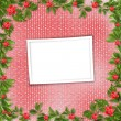 Stock Photo: Card for invitation or congratulation with red orchids