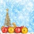 Christmas tree with balls and gift bags on snow background abstr — Stock Photo
