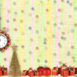 Christmas gifts to the clock on the abstract background with con — Stock Photo #16345485