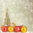 Christmas tree with balls and gift bags on snow background abstr - Stock Photo
