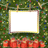 Greeting card hanging on a rope and clothespins with presents o — Stock Photo