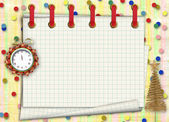 Presentes de natal para o relógio no fundo abstrato com con — Foto Stock