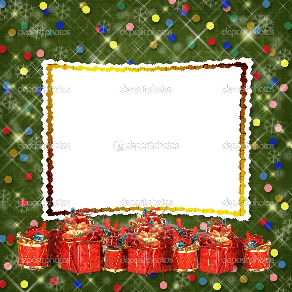 Christmas greeting card with presents on the  green abstract background — Stock Photo #16346357