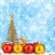 Christmas tree with balls and gift bags on snow background abstr — Stock Photo #16835117