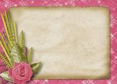 Vintage pohlednice k blahopřání s růžemi a stuhy — Stock fotografie