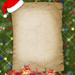 Christmas greeting card with presents on the  green abstract bac -  