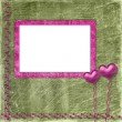 Old frame with hearts for congratulation to holiday — Stockfoto