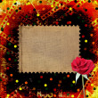 Old papers and grunge filmstrip with beautiful roses — Stock Photo