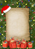 Christmas greeting card with presents on the green abstract bac — Stock Photo