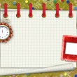 Stock Photo: A sheet of paper with a clock and slide on an abstract backgroun