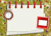 Un foglio di carta con un orologio e slide su un astratto threshold — Foto Stock