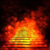 Escalera de piedra antigua con brillantes desenfoque bokeh — Foto de Stock