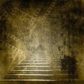 Stone stairs in the old paper background with slides — Stock Photo
