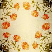 гранж-фон для поздравление с красивые розы — Стоковое фото
