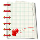 Notebook with red hearts to the Valentine — Stock Photo