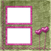 Old frame with hearts for congratulation to holiday — Stock Photo