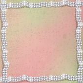Abstract red background with white beautiful pearls — Stock Photo