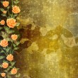 Grunge concrete wall with garland of painting rose — Stock Photo