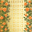 Grunge gold paper for congratulation with painting rose — Stock Photo #20332463