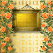 Old wooden frame for photo with garland of painting rose - Stock Photo