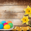 Pastel background with multicolored eggs and narcissus to celebr - Stock Photo