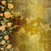 グランジ コンクリート壁絵画ローズの花輪 — ストック写真