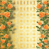 Grunge gold paper for congratulation with painting rose — Stockfoto
