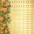 Grunge gold paper for congratulation with painting rose — Stock Photo #20437911