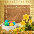 Royalty-Free Stock Photo: Pastel background with colored eggs and narcissus to celebrate E