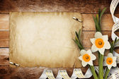 Card for invitation or congratulation with bouquet of flowers na — Stock Photo