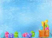 Pastel background with multicolored eggs to celebrate Easter — Stock Photo