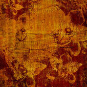 Abstract watercolor brushstrokes with floral ornament on grunge — Stock Photo