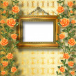 Old wooden frame for photo with garland of painting rose — Stok fotoğraf