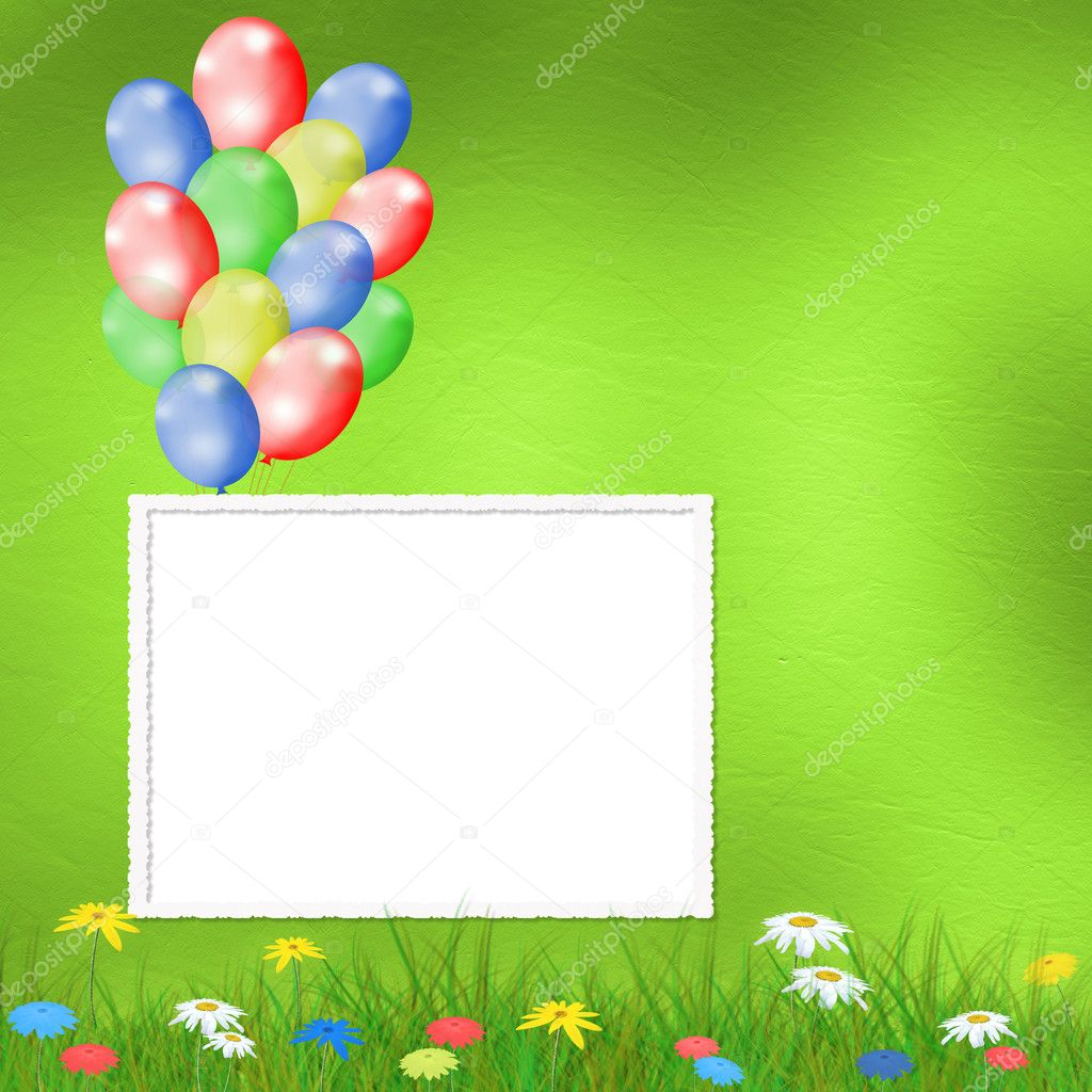 用气球和鲜花明亮多彩多姿的背景 — 照片作者 loraliu