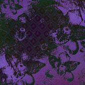 Pinceladas de acuarelas abstractas con ornamento floral en grunge — Foto de Stock