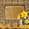 Vintage postcard for invitation with bunch of yellow narcissi - Foto Stock
