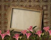 Vintage briefkaart voor uitnodiging met bos van roze bloemen — Stockfoto
