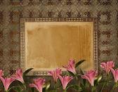 Cartolina d'epoca per invito con mazzo di fiori rosa — Foto Stock