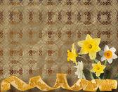 Cartolina d'epoca per invito con mazzo di narcisi gialli — Foto Stock