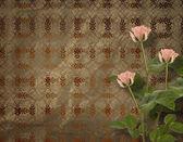 Cartolina d'epoca per invito con mazzo di rose rosa — Foto Stock
