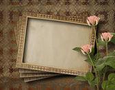 Vintage vykort för inbjudan med massa rosa rosor — Stockfoto
