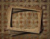 Old grunge frames on the ancient paper background — Zdjęcie stockowe