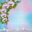 Greeting card with beautiful branch orchid and pearls for a wedd — 图库照片