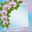 Greeting card with beautiful branch orchid and pearls for a wedd — Stock Photo