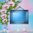 Wooden frames on the wall with branches of beautiful orchids for — Stockfoto #28581301