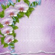 Greeting card with beautiful branch orchid and pearls for a wedd — Foto Stock