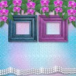 Wooden frames on the wall with branches of beautiful orchids for — Foto de Stock